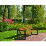 ławka ogrodowa z drewnianym oparciem